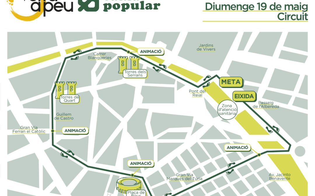 La Volta a Peu València Caixa Popular 2019 adapta el seu recorregut a la distància de 6,2 quilòmetres